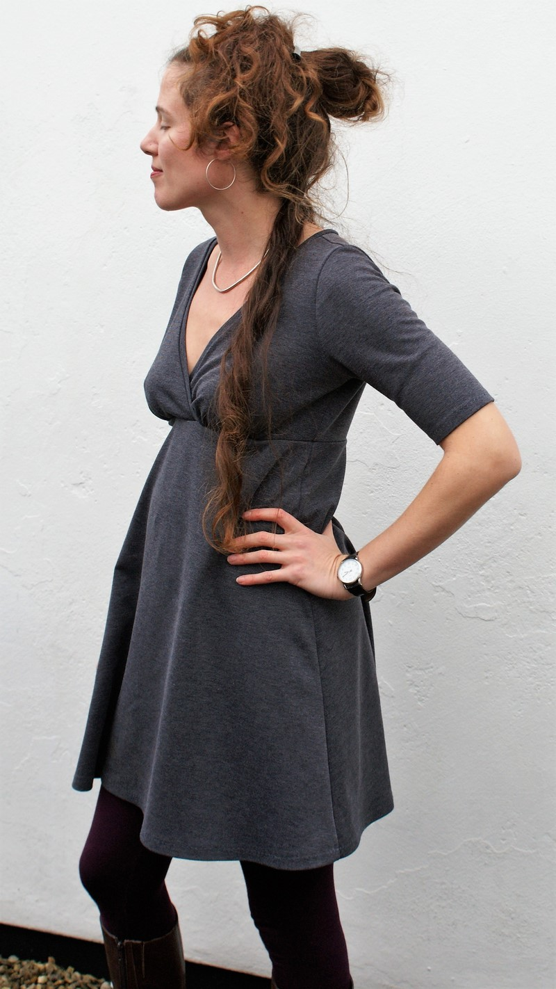 Totally not boring Grey Surplice Dress